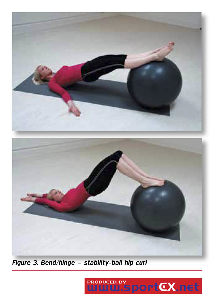 Bend/hinge – stability-ball hip curl