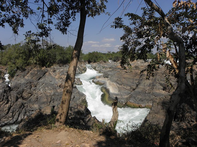A waterfall by Don Khone in the Mekong in Laos