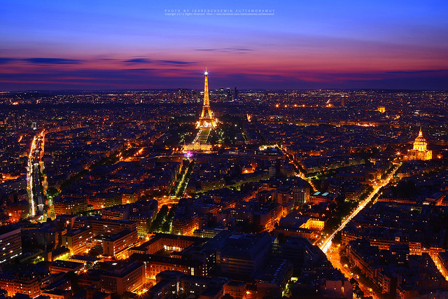 Night view of Paris with Eiffel Tower