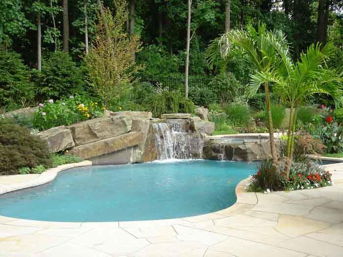 Tropical Backyard Swimming Pool And Spa Waterfall Design I ...