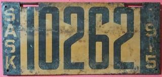 SASKATCHEWAN 1915 LICENSE PLATE