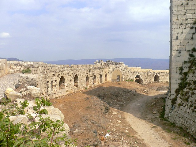Inside the walls of Crac des Chevaliers, Syria