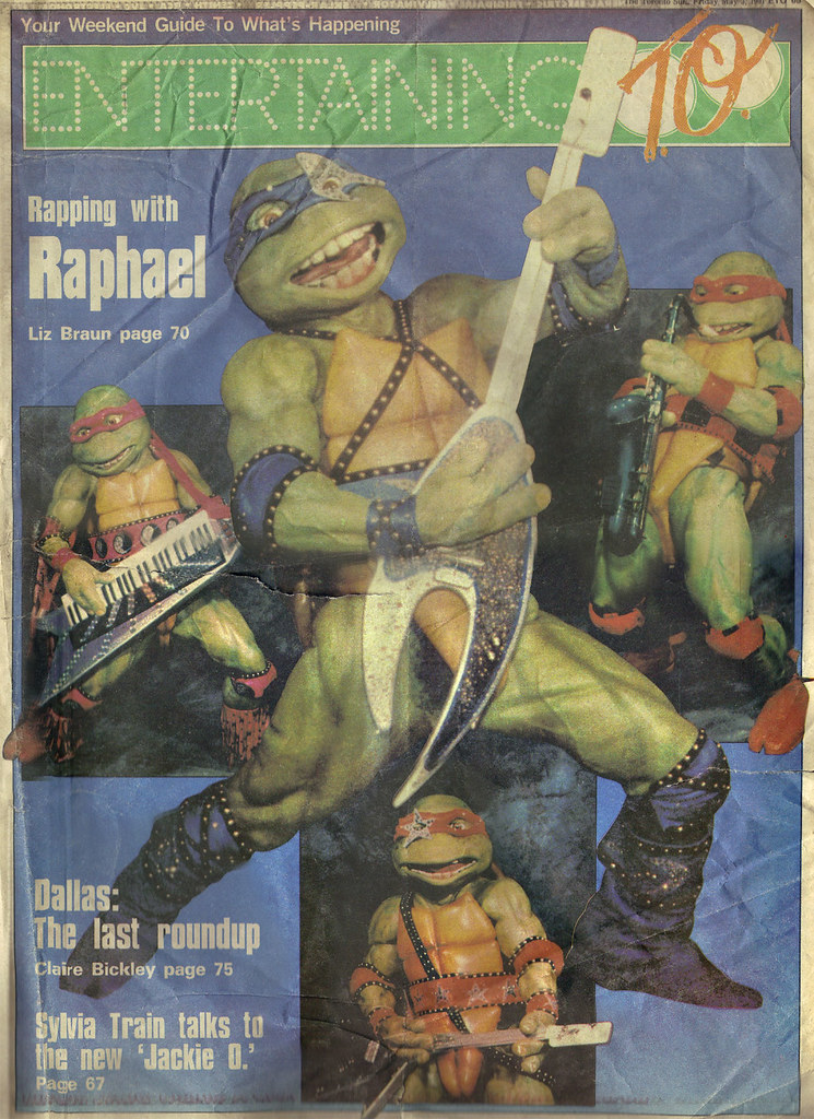 """The Toronto Sun :: Friday May 3,1991 ENTERTAINING TO; """"Rapping with Raphael"""", 'Teenage Mutant Ninja Turtles - Coming Out of Their Shells Tour' { ETO FRONT PAGE }  (( 1991 )) by tOkKa"""