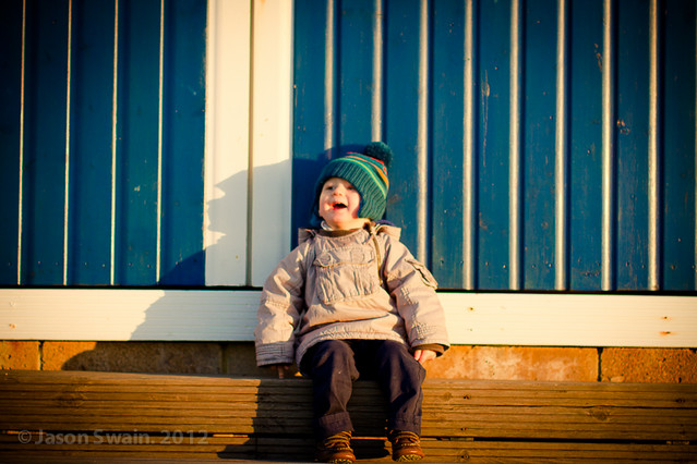 Beach hut portrait
