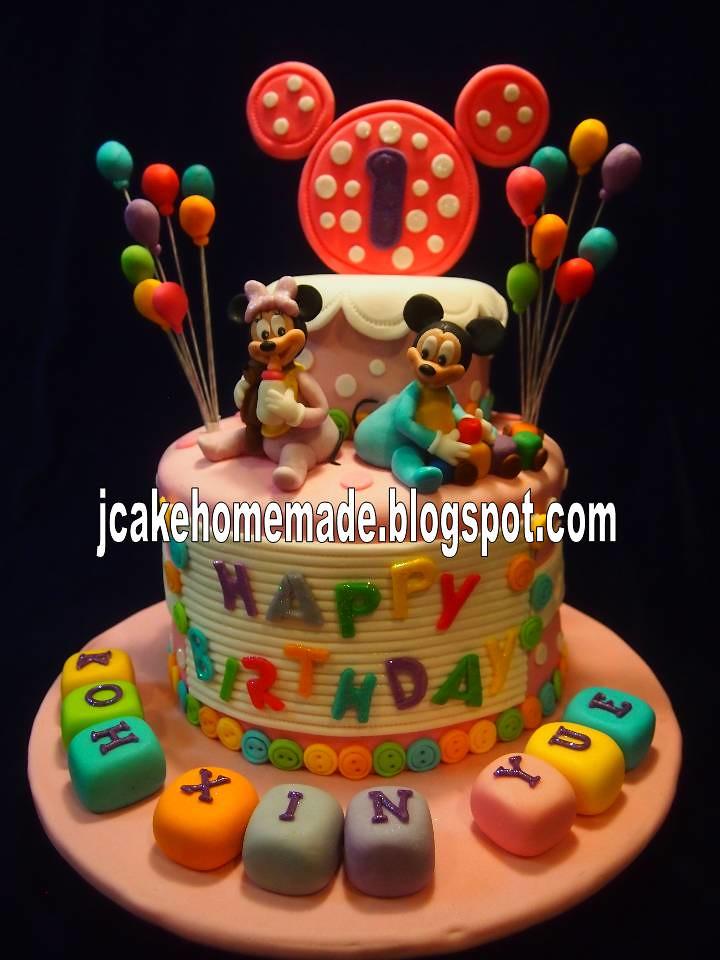 Peachy Baby Mickey And Minnie Mouse Birthday Cake Happy 1St Birth Flickr Funny Birthday Cards Online Alyptdamsfinfo