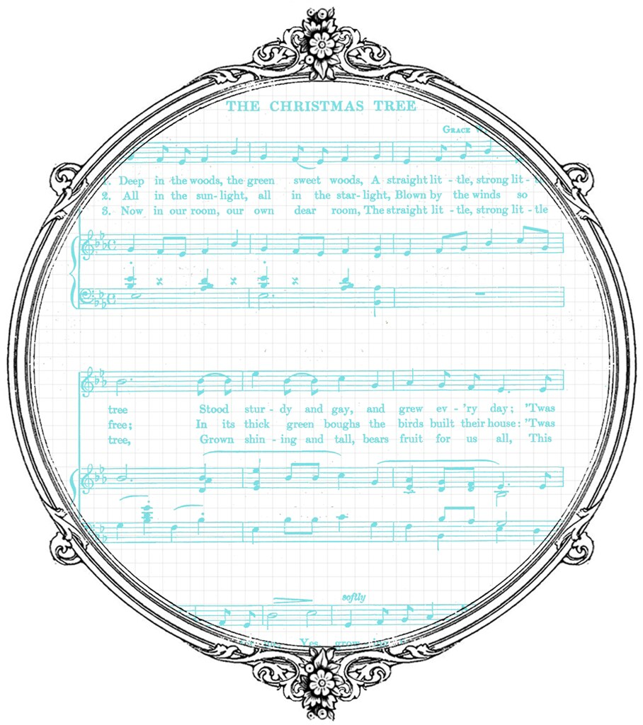 image about Printable Christmas Sheet Music named 8 Typical Xmas Sheet Tunes White Turquoise - no cost p