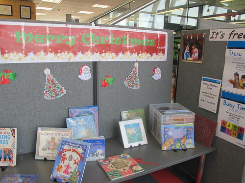 Christmas display - Sculpture of books - New Brighton Library.