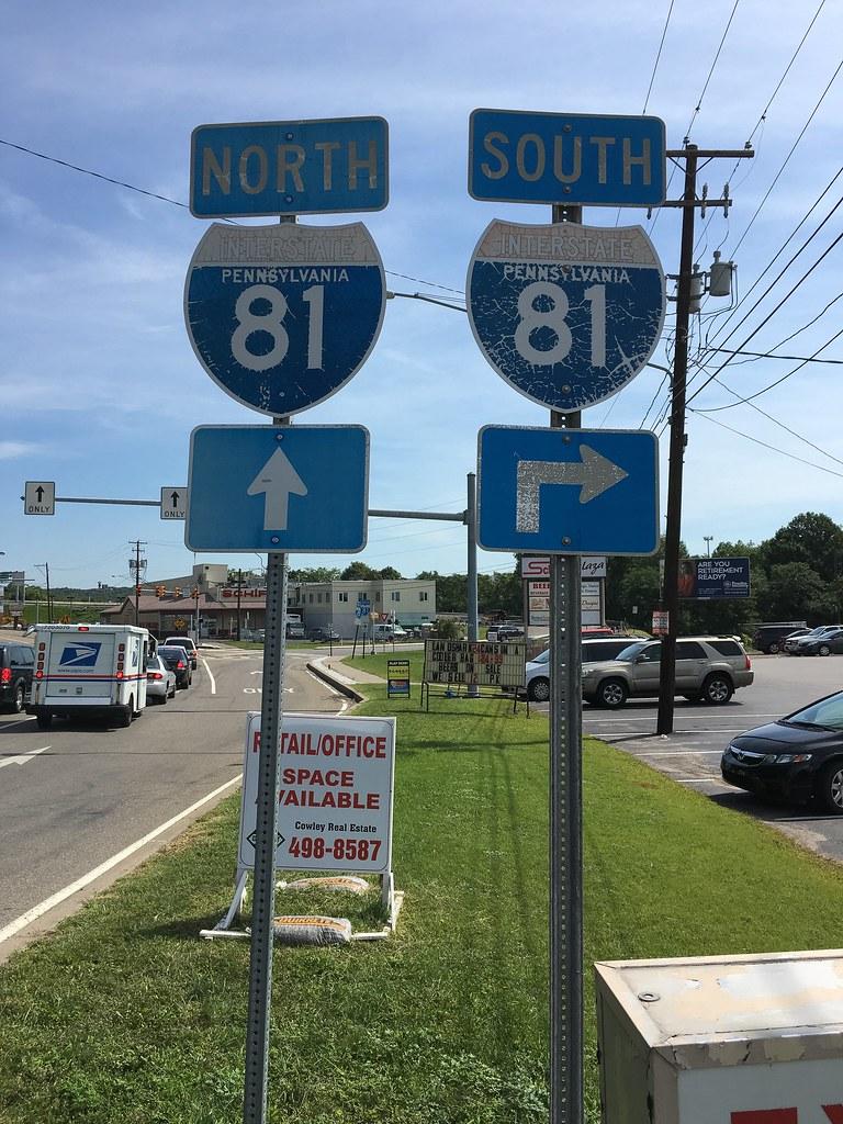 State-named I-81 shields  Main Ave  Scranton, PA