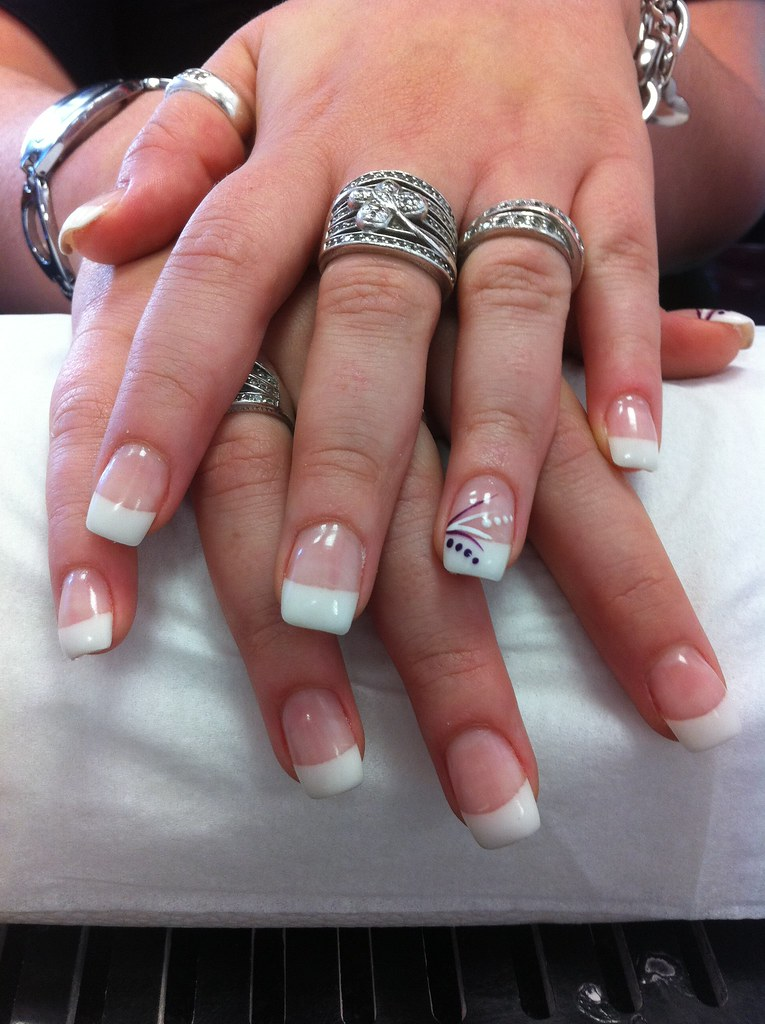 10 Ongle Gel Blanc Decor Trait Point Nail Art French Manuc