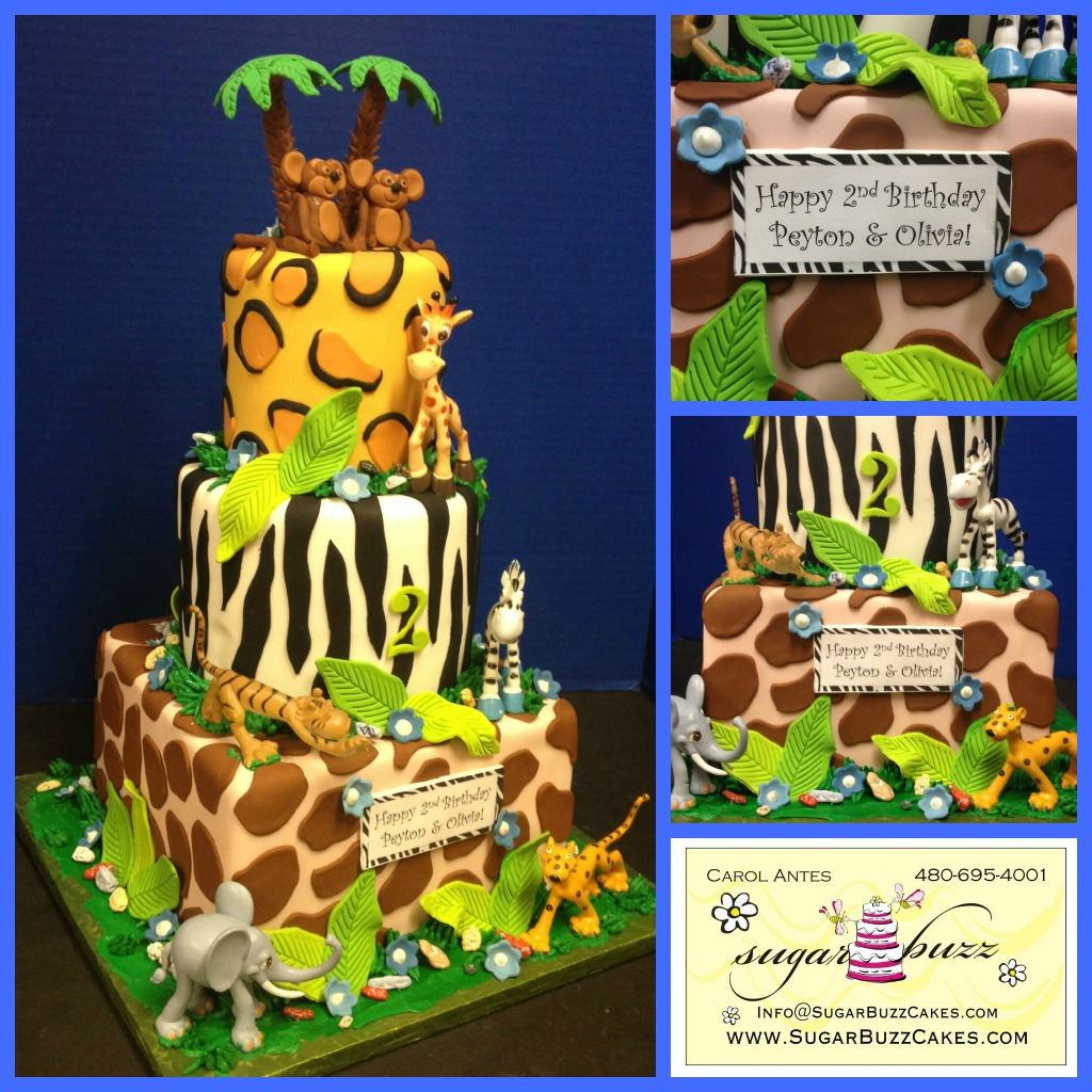 Awesome Jungle Birthday Cake Twins A Photo On Flickriver Personalised Birthday Cards Bromeletsinfo