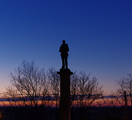 morning blue trees sky sculpture art silhouette statue sunrise soldier dawn war civil greensburg musuem westmoreland