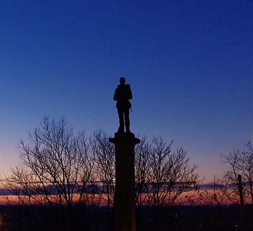 morning blue trees sky sculpture art silhouette statue sunrise soldier dawn war civil greensburg musuem westmoreland