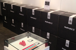 A wall of Replicator 2s at the makerbot store in NY | by andrewsharmon
