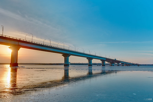 water bridge ice sun sunset sky winter hdr ukraine river
