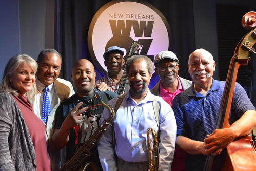 Sally Young, Wendell Brunious, Roderick Paulin, Detroit Brooks, Freddie Lonzo, Herlin Riley, and Richard Moten on Day 10 of Spring Membership Drive - 3.22.18. Photo by Kichea S Burt.