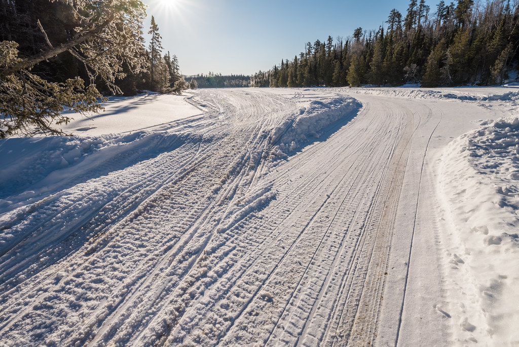 Snowmobile Tracks on Greenwood Lake, Minnesota | Snowmobile