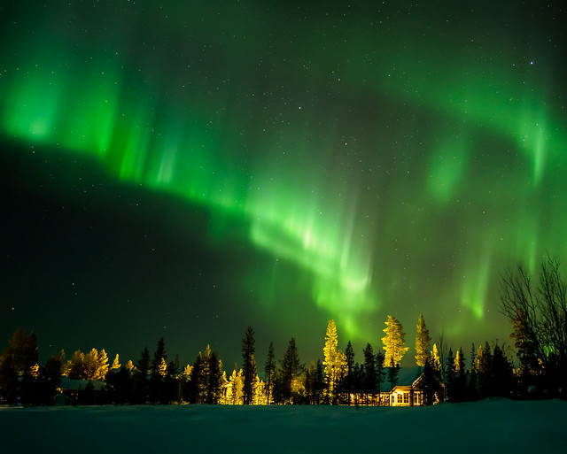 Una foto de la aurora boreal