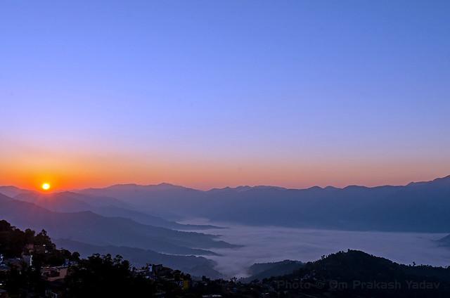 Sunrise over the white lake