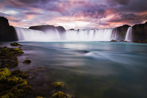 sunset summer sky nature water colors beautiful river landscape island waterfall iceland stream wasser europa europe sonnenuntergang wasserfall sommer natur north norden himmel gelb gods polar blau fluss landschaft isle farben rota vulkan godafoss langzeitbelichtung vulcanic waterfallofthegods islandic
