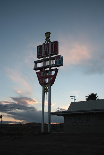 old sunset abandoned station truck desert dusk gas stop mojave signage disused derelict deserted