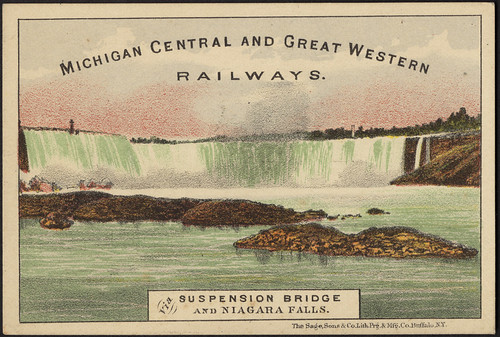 Michigan Central and Great Western Railways. Via suspension bridge and Niagara Falls. [front]