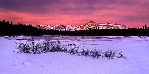 winter snow ice sunrise landscape frozen colorado olympus rockymountains f2 12mm omd indianpeakswilderness em5 redrocklake mzuiko