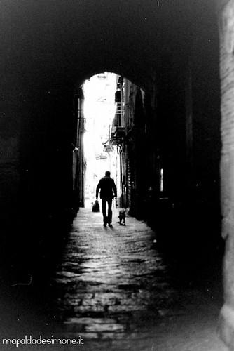 Vico delle Anime del Purgatorio, Napoli - Olympus OM101, ILFORD Delta 100, Cyberscanner Vision Compact.   by Mafalda de Simone