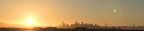 sunset city skyline