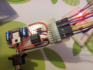 Innards of nightlight hooked up to breadboard | by lilspikey
