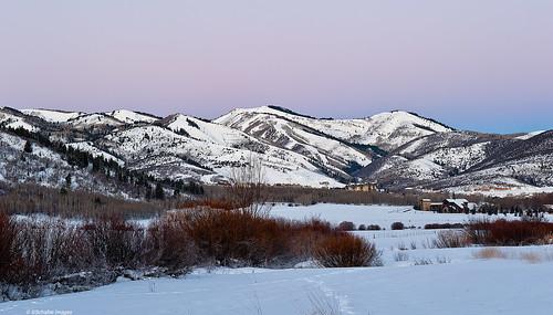 winter snow mountains church sunrise buildings utah fields parkcity beforesunset landsacpes