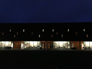 Don and Marion McDougall Hall at night.