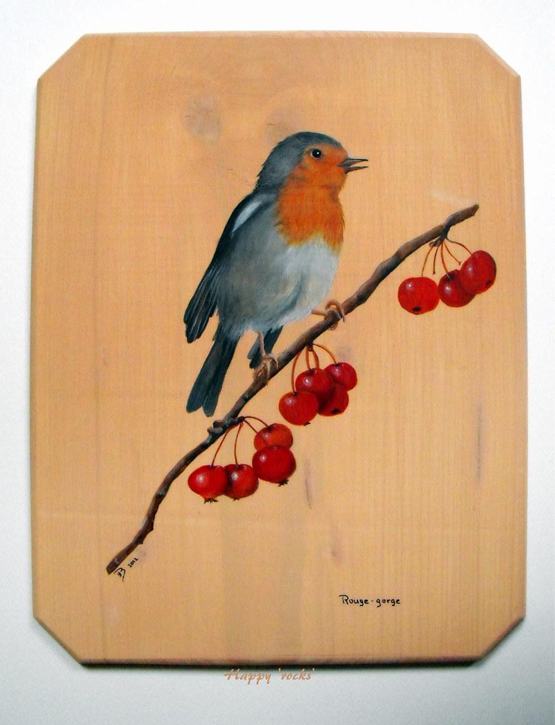 rouge gorge peinture sur bois dim 25x32 cm rockpainting yvette flickr