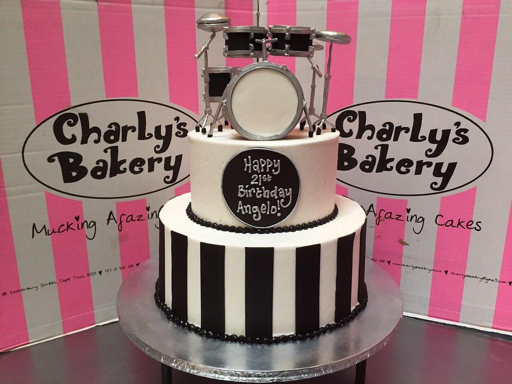 White 2 Tier 21st Birthday Cake With 3D Drum Kit Set Topper In Black