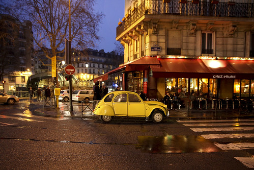 """Classic yellow 2CV in front of """"Chez Prune"""" 