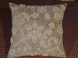 Irish crochet cushion