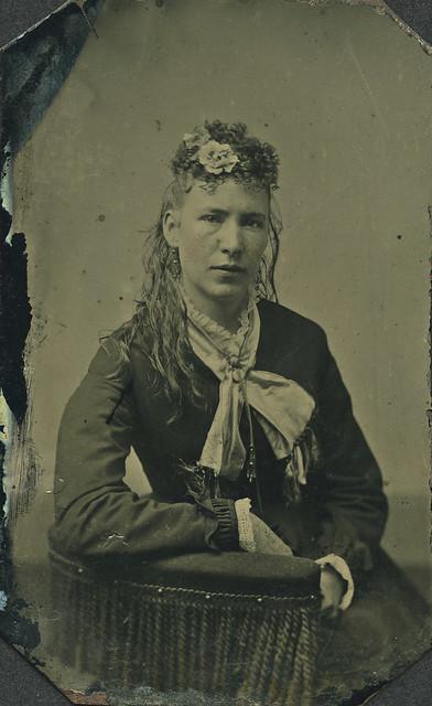 Seated woman tintype.