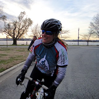 Megan happy to be done with Hains Point 100. Congrats!
