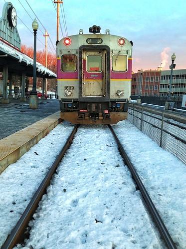 morning snow cold train sunrise ma massachusetts january rail railcar trainstation commute mbta haverhill