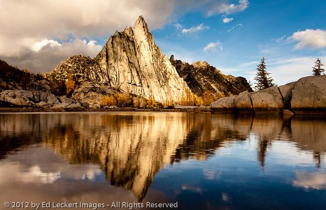 Prusik Peak Reflection at Sunset, Alpine Lakes Wilderness, Washington