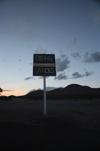 sunset mountains coffee death desert dusk valley snacks signpost deserted