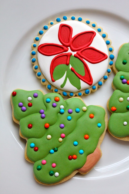 Christmas cookie and poinsettia cookies