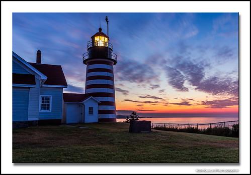 morning lighthouse sunrise maine newengland atlanticocean lubec quoddyheadlight