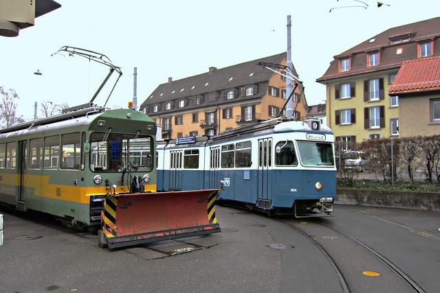 Tram Museum Zürich 2011 - Be 4/6 1674 und Schneepflug Xe 4/4 1924