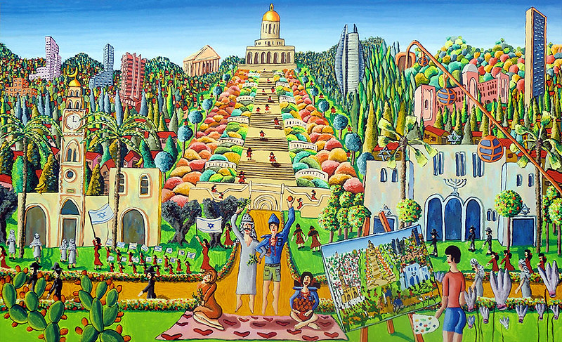 Jews and Arabs live together in peace in the Holy Land Israeli Naïve Art by raphael perez