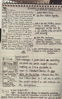 Sample page from a journal by Dru Hilty '02, kept for a spring 2000 Pomona College Magazine article about life at the college at the turn of the century.
