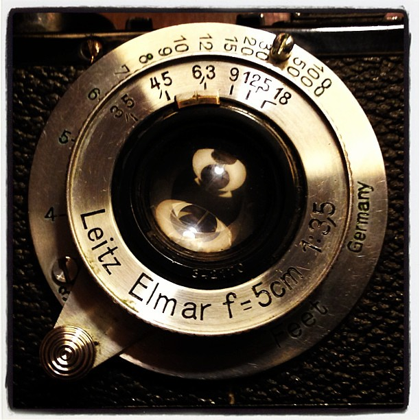 iPhone shot of the old Leica Standard screw mount lens. #leica #leitz #elmar #35mm