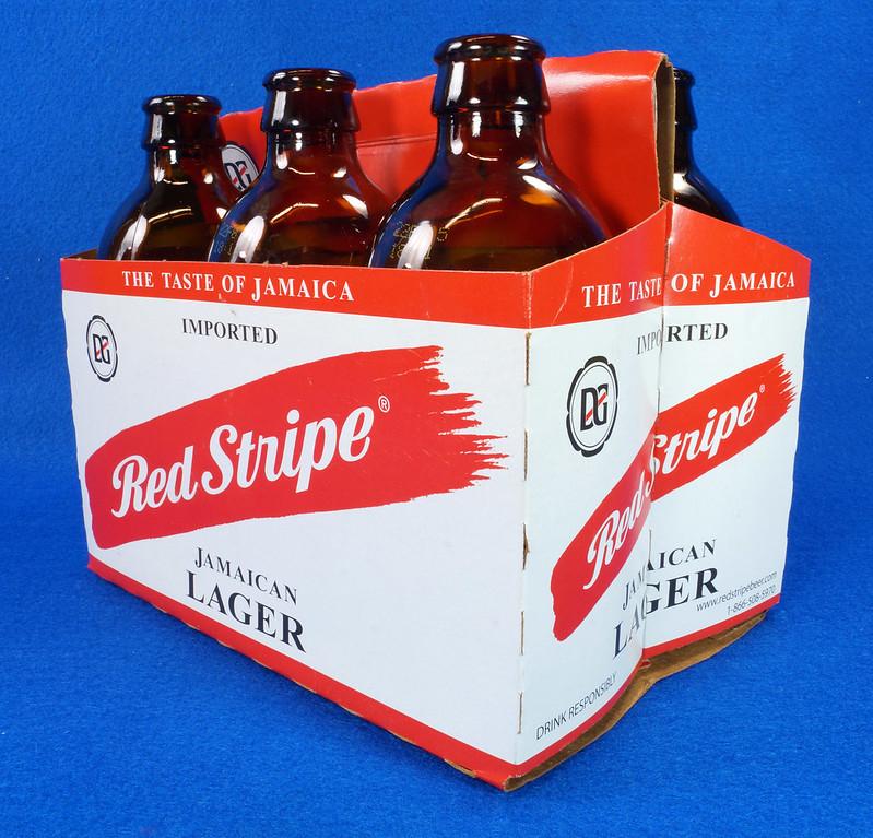 RD14201 6 Red Stripe 12 oz Brown Stubby Beer Bottles in Original 6 Pack Carton DSC05345