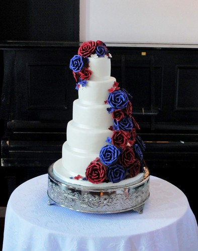 Claret & Purple Split Roses cascade Wedding cake | by Couture Cake Design
