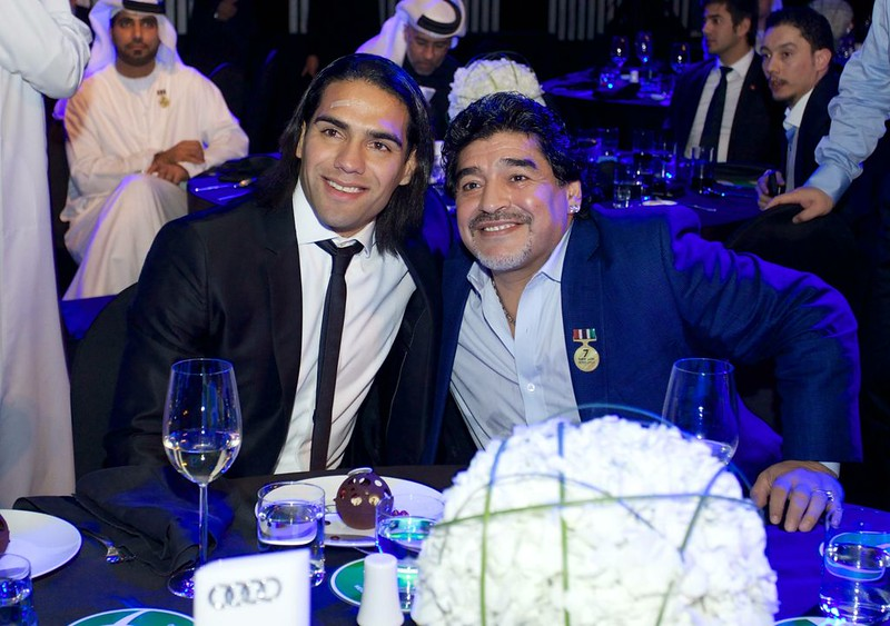 Radamel Falcao and Diego Armando Maradona