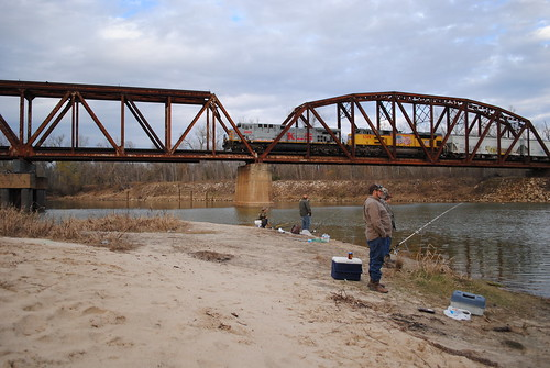 kcs kansas city southern up union pacific railroad railway train liberty county texas trinity river fishing fisherman pontist united states north america